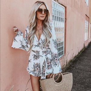 White long sleeve floral romper playsuit